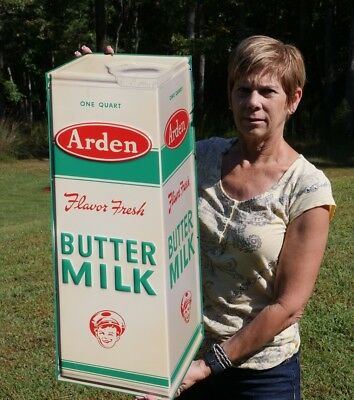 Vintage Ardens Buttermilk Embossed Dairy Sign Minty Unfindable Super Rare