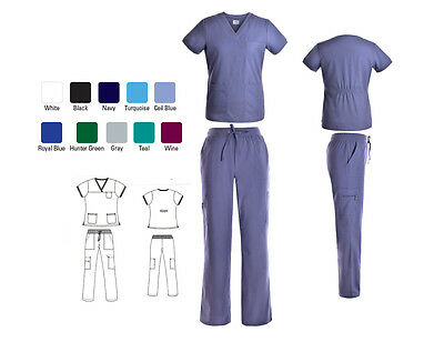Women's Nursing Medical Solid Scrub Set Top with Ribbing and Cargo Pants NWT