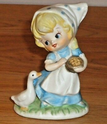 "Homco Little Farm GIRL Feeding DUCK GOOSE small 3.25""H ceramic figurine Taiwan"