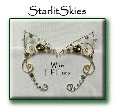 Wire Elf Ear Cuff, Sterling Silver Filled Brass and Vitrail Swarovski Crystals,