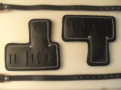 """Spur Pads & 26"""" Upper Straps Thick Padded Pads Black Leather Gaff Spike Climbers"""
