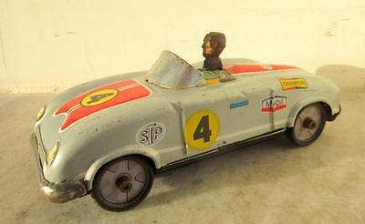 Vintage Old Rare Friction Power STP 4 Mobil Oil Racing Car Litho Tin Toy Japan?