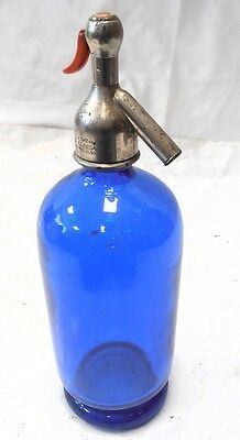 antiguo SIFON AZUL de  tapon plomo BOTTLES GLASS SODA SIPHON,SIFONES retro