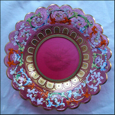 Stunning Richly Enameled Moser Cranberry Glass Display Plate 1885