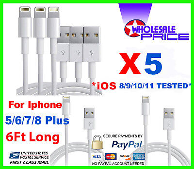 5x USB Charger Cable Cord Compatible To charge iPhone X 7/8 Plus 6FT Wholesale