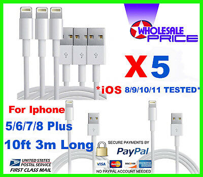 5 USB Charger Cable Cord Compatible To charge iPhone 7/8 Plus 10FT Wholesale Lot