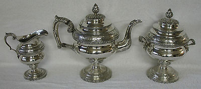 Thomas Whartenby COIN Silver Tea Service 3 piece set Grape Vine Medallion Bust