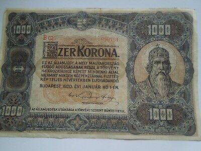 1000 Ezer Korona, Budapest 1920, numbered paper currency