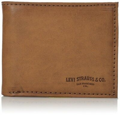 b487d5261 Levi's Men's Rfid Blocking Leather Extra Capacity Slimfold Wallet, tan, One  Size
