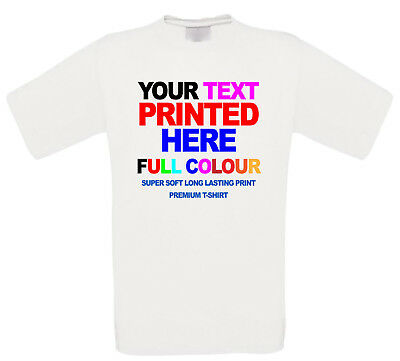 Personalised T shirt Custom  Printed Text Stag Hen Party Promotional Full Colour