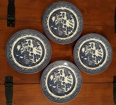 """Set of 4 CHURCHILL BLUE WILLOW SALAD PLATES 8 1/8"""" Excellent condition"""