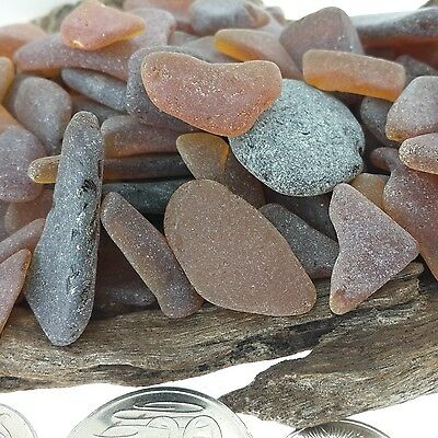 Genuine Natural Sea Glass Beach Glass Brown - Over 100 pcs Seaglass Various Size
