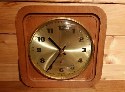 Vintage French Wooden 1970s Jaz Electronic Wall Clock VDO quartz movement
