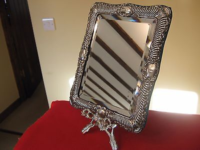 1901 Hilliard & Thomason Solid Silver Framed Dressing Table Mirror & Free Stand.