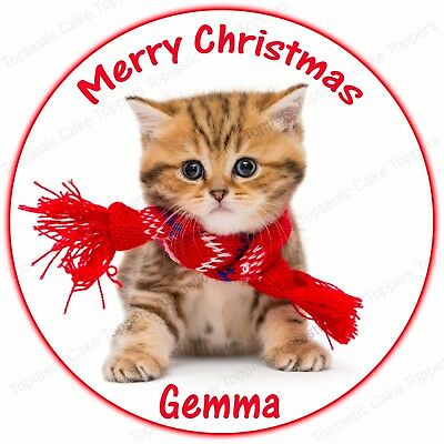 Personalised Christmas Kitten Cat Scarf Round Edible Icing Party Cake Topper