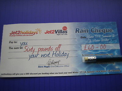 Jet2 Rain Cheque £60.00 Travel Money Off Discount Holiday Voucher Ticket Coupon