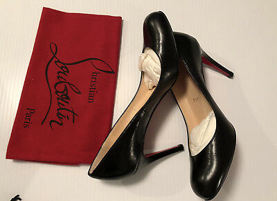 pretty nice 3ccff 84090 BLACK CHRISTIAN LOUBOUTIN Simple Leather Red Sole Pump 36.5 New! 3 Inch Heel