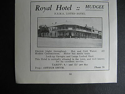 Royal Hotel Mudgee Arthur Smith Proprietor 1920s Advertisng
