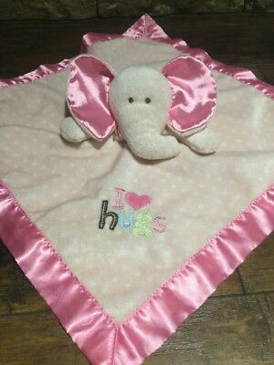 Carter's Just One Year Elephant Baby Security Blanket Pink I Love Hugs Polka Dot