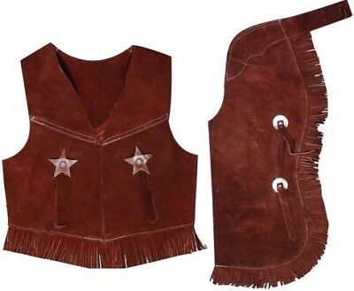 SHOWMAN Kid's SMALL BROWN suede leather chap and vest outfit costume with fringe
