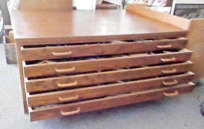 "Large Wooden 5 Drawer Flat File Dark Oak - Plans Maps Prints Art Archive 31""x42"""