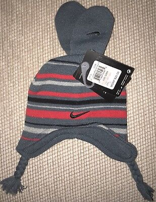 Nike Infant Boys Hat & Mitten Set Size 12/24 Months-Gray/red Striped