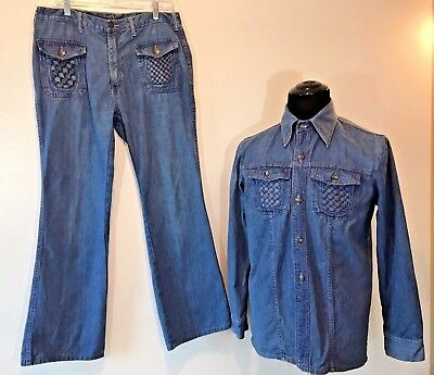 Vintage 1970s Crownley Blue Denim Woven Pocket Leisure Suit Jacket and Jeans P11