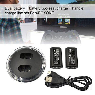 Dual Charging Dock Controllers Charger & 2X Rechargeable Battery for Xbox One XB