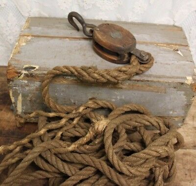 Vintage Antique Wood Barn Pulley With Original Rope