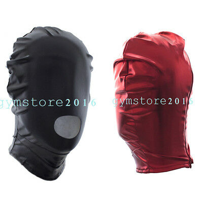 Patent leather Head harness Hood Mask slave Roleplay breathable Club Party game