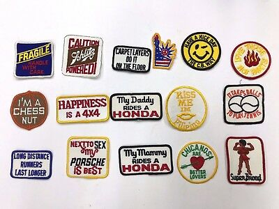 Vintage 16 Lot Embroidered Patches 1970's Hippy Funny Hippie 70's Sew-On Lot H16