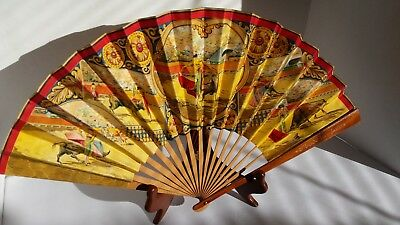 Vintage Paper Hand Fan Spanish Bull Fighting Toreador MadeinSpain Wood +Asia Fan