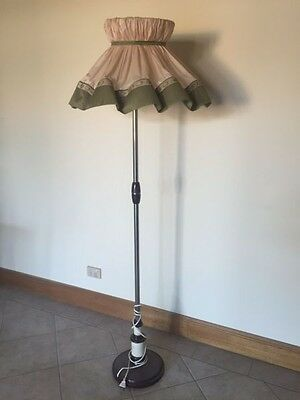 Art Deco Chrome Bakelite Floor Standard Lamp - Silk Shade