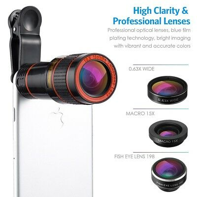 12x Optical Zoom HD Telescope Camera Lens Kit Tripod For Cell Phone Smartphone