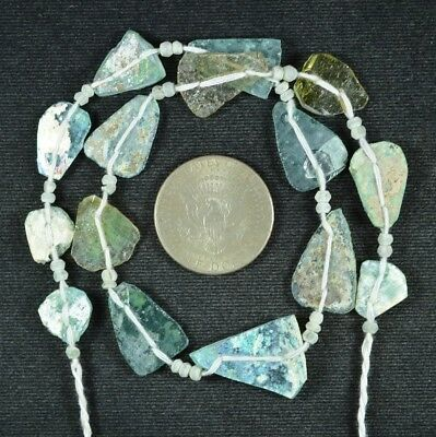Ancient Roman Glass Beads 1 Medium Strand Aqua And Green 100 -200 Bc 728