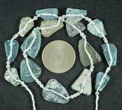 Ancient Roman Glass Beads 1 Medium Strand Aqua And Green 100 -200 Bc 727