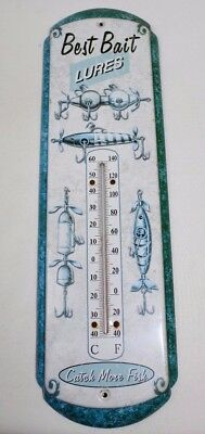 """Best Bait Lures Advertising Thermometer Catch More Fish Metal 17"""""""