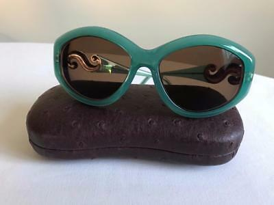 Nina Ricci Paris NR3058 Teal Green Gold Detail Made in France Plastic Sunglasses