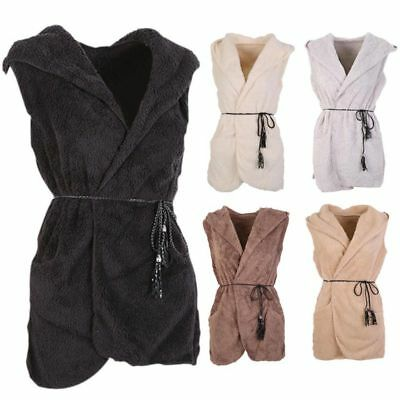 Women Fleece Hooded Waistcoat Winter Warm Sleeveless Vest Coat Jacket Outerwear