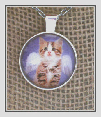 Beautiful Angel Tabby Kitten Under Glass -  Silver Pendant With Chain