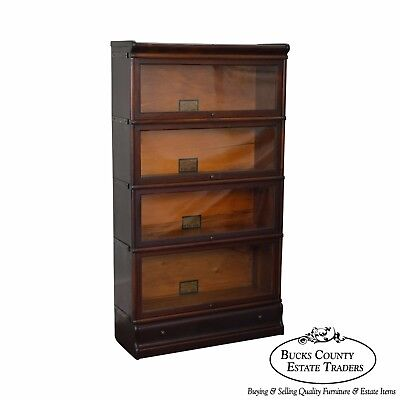 Globe Wernicke Antique Mahogany 4 Section Barrister Stacking Bookcase w/ Drawer