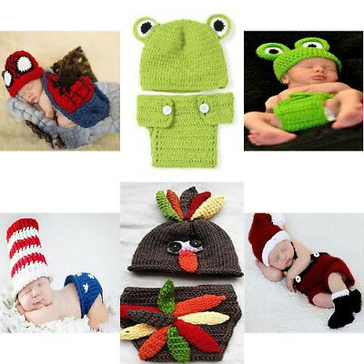 Cute Knitted Crochet Photography Costume Outfits For Newborn Babies