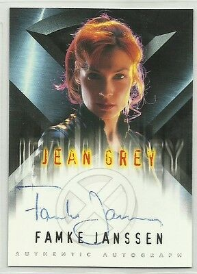 x-men Chase Card with Genuine Autograph,Signed by  Famke Janssen as 'Jean Grey'