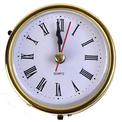 "2-1/2"" (65mm) Quartz Clock Movement Insert Roman Numeral White Face Gold Trim"