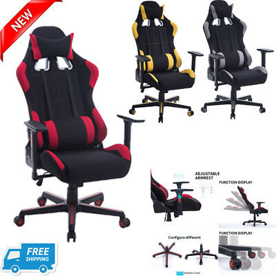 Ergonomic High Back Racing Gaming Chair Swivel Computer Office Desk Footrest FH