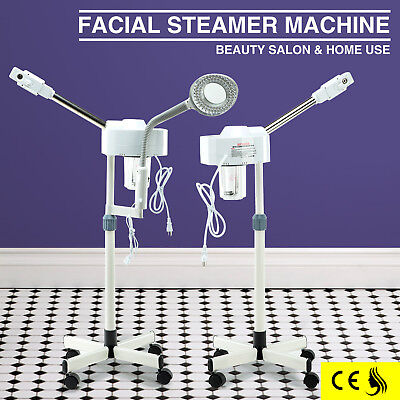 2 In 1  Stand Facial Steamer & LED Magnifying Lamp Skin Care Salon Spa Equipment