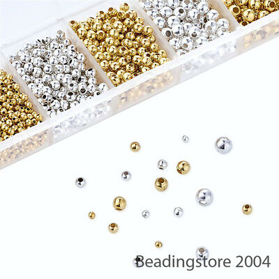 1 Box Iron Metal Beads Tiny Loose Smooth Spacers 2 Color Box Kits Findings 2~5mm