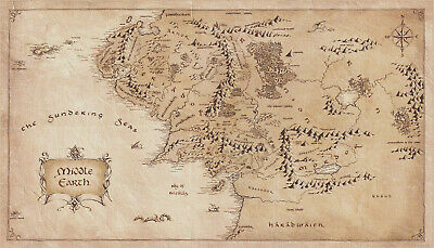 MAP OF MIDDLE Earth Lord Of The Rings Silk Cloth Poster Art Wall ...