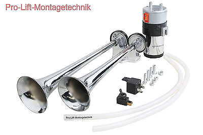 12V Drucklufthorn Doppelfanfare mit Kompressor 380mm Nebelhorn Signalhorn 02103