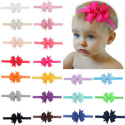 UK 20pcs Elastic Baby Headdress Kids Hair Band Girls Bow Newborn Headband